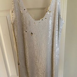Free people white and gold sequin tank top